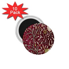 Crewel Fabric Tree Of Life Maroon 1 75  Magnets (10 Pack)