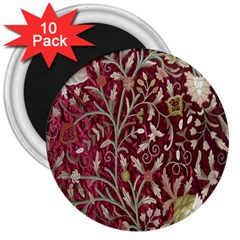 Crewel Fabric Tree Of Life Maroon 3  Magnets (10 Pack)
