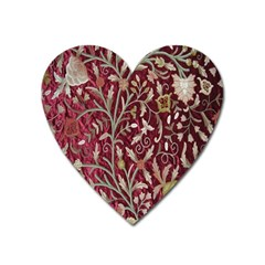 Crewel Fabric Tree Of Life Maroon Heart Magnet