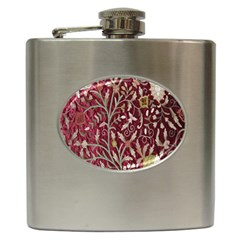 Crewel Fabric Tree Of Life Maroon Hip Flask (6 Oz)