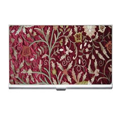 Crewel Fabric Tree Of Life Maroon Business Card Holders
