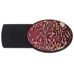 Crewel Fabric Tree Of Life Maroon Usb Flash Drive Oval (2 Gb)