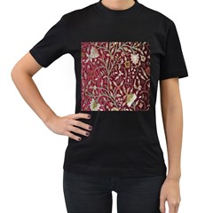 Crewel Fabric Tree Of Life Maroon Women s T Shirt (black) (two Sided)