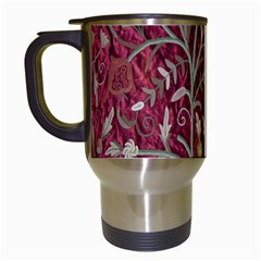 Crewel Fabric Tree Of Life Maroon Travel Mugs (white)