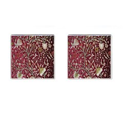 Crewel Fabric Tree Of Life Maroon Cufflinks (square)