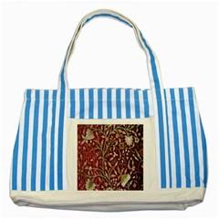 Crewel Fabric Tree Of Life Maroon Striped Blue Tote Bag
