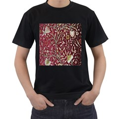 Crewel Fabric Tree Of Life Maroon Men s T Shirt (black)
