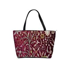 Crewel Fabric Tree Of Life Maroon Shoulder Handbags