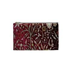 Crewel Fabric Tree Of Life Maroon Cosmetic Bag (small)