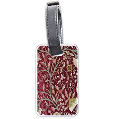 Crewel Fabric Tree Of Life Maroon Luggage Tags (one Side)