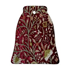 Crewel Fabric Tree Of Life Maroon Ornament (bell)