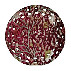 Crewel Fabric Tree Of Life Maroon Round Filigree Ornament (two Sides)