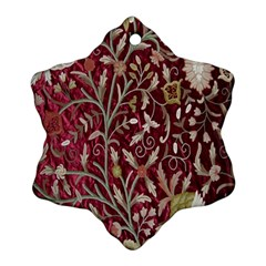 Crewel Fabric Tree Of Life Maroon Snowflake Ornament (two Sides)