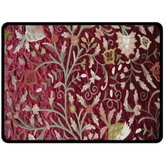 Crewel Fabric Tree Of Life Maroon Double Sided Fleece Blanket (large)