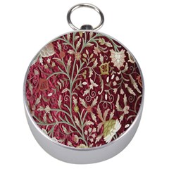 Crewel Fabric Tree Of Life Maroon Silver Compasses