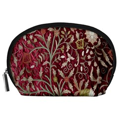 Crewel Fabric Tree Of Life Maroon Accessory Pouches (large)
