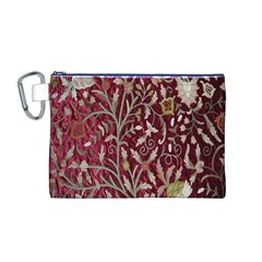 Crewel Fabric Tree Of Life Maroon Canvas Cosmetic Bag (m)