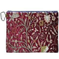 Crewel Fabric Tree Of Life Maroon Canvas Cosmetic Bag (xxxl)