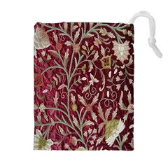 Crewel Fabric Tree Of Life Maroon Drawstring Pouches (extra Large)