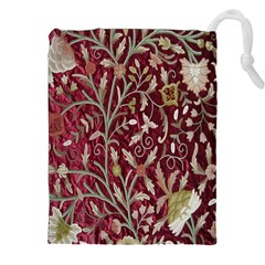 Crewel Fabric Tree Of Life Maroon Drawstring Pouches (xxl)