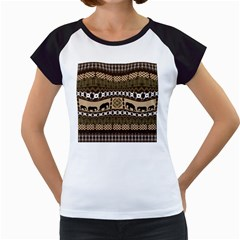 Elephant African Vector Pattern Women s Cap Sleeve T