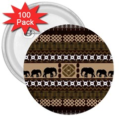 Elephant African Vector Pattern 3  Buttons (100 Pack)