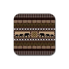 Elephant African Vector Pattern Rubber Square Coaster (4 Pack)
