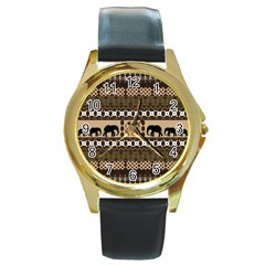 Elephant African Vector Pattern Round Gold Metal Watch
