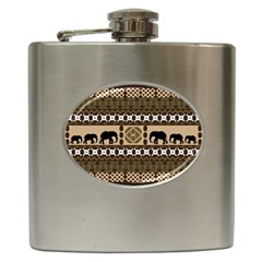 Elephant African Vector Pattern Hip Flask (6 Oz)