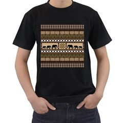 Elephant African Vector Pattern Men s T Shirt (black) (two Sided)