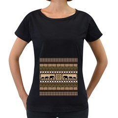 Elephant African Vector Pattern Women s Loose Fit T Shirt (black)