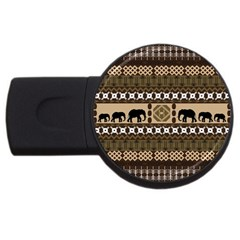 Elephant African Vector Pattern Usb Flash Drive Round (4 Gb)