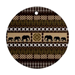 Elephant African Vector Pattern Round Ornament (two Sides)