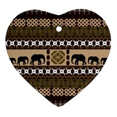 Elephant African Vector Pattern Heart Ornament (two Sides)