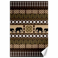 Elephant African Vector Pattern Canvas 12  X 18