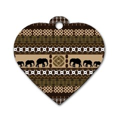Elephant African Vector Pattern Dog Tag Heart (two Sides)