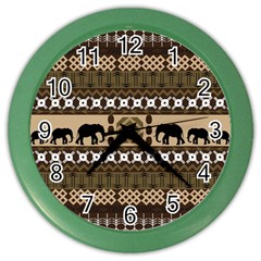 Elephant African Vector Pattern Color Wall Clocks