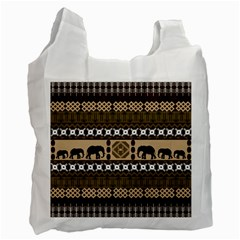 Elephant African Vector Pattern Recycle Bag (one Side)