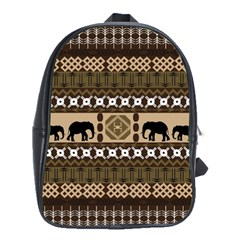 Elephant African Vector Pattern School Bags(large)