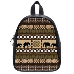 Elephant African Vector Pattern School Bags (small)
