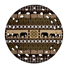 Elephant African Vector Pattern Ornament (round Filigree)