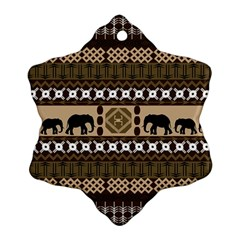 Elephant African Vector Pattern Snowflake Ornament (two Sides)
