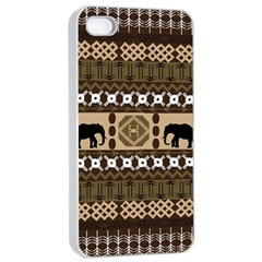 Elephant African Vector Pattern Apple Iphone 4/4s Seamless Case (white)