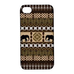 Elephant African Vector Pattern Apple Iphone 4/4s Hardshell Case With Stand