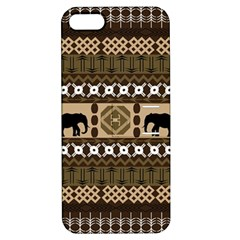 Elephant African Vector Pattern Apple Iphone 5 Hardshell Case With Stand