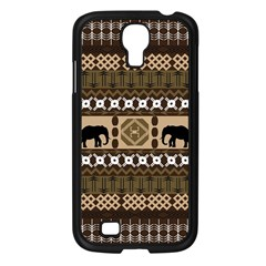 Elephant African Vector Pattern Samsung Galaxy S4 I9500/ I9505 Case (black)