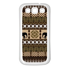 Elephant African Vector Pattern Samsung Galaxy S3 Back Case (white)