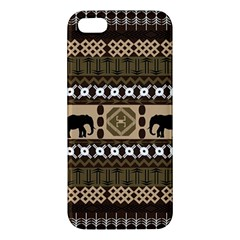 Elephant African Vector Pattern Iphone 5s/ Se Premium Hardshell Case