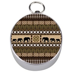 Elephant African Vector Pattern Silver Compasses