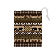 Elephant African Vector Pattern Drawstring Pouches (medium)